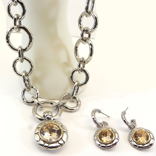 Stacking Silver Tone Hammered Circle Necklace-Topaz Pendant-Earring Set