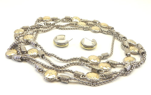 """58"""" Long Designer Inspired 2-Tone Hammered Round Stations Necklace-Earring Set"""