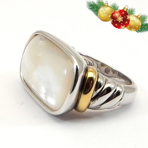 Classic Cable Designer Inspired 2-Tone MOP Ring 6-7-8