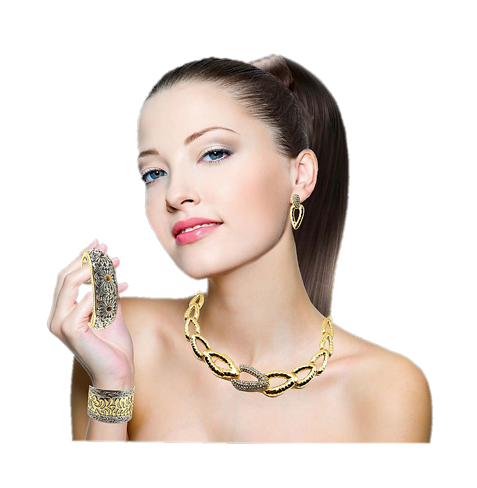 Model with Real Imposters Jewelry