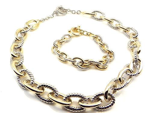 Cable Designer Inspired 2-Tone Toggle Link Necklace & Bracelet Set