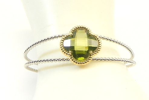 Designer Inspired 2-ToneTwisted Wire Green-Olivine CZ  Bracelet Cuff