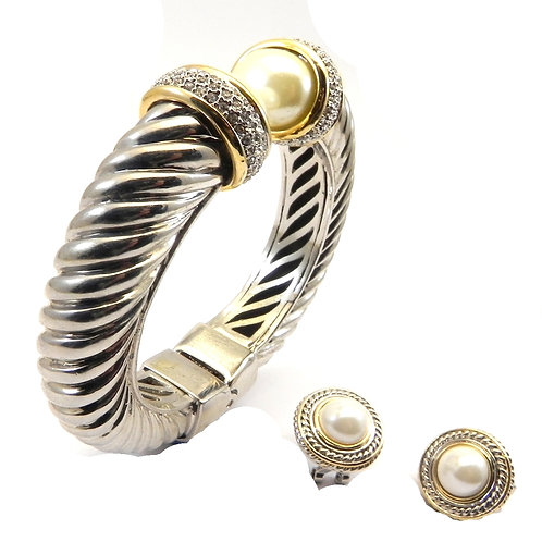 Chunky 14 MM Cable Designer Inspired 2-Tone Simulated Pearl & Pave & Earring Set