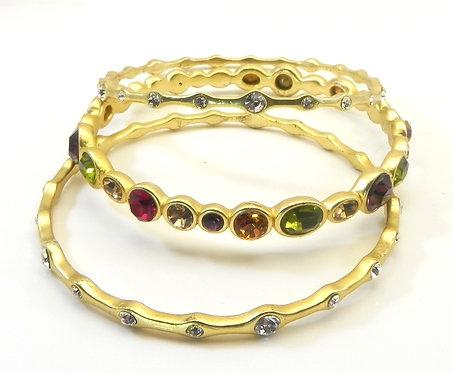 Stacking Bangle Trio Designer Inspired Gold-Tone Crystal Dark-Multi-Color