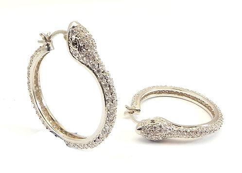 Designer Inspired Silver-Tone Pave Snake Hoop Earring