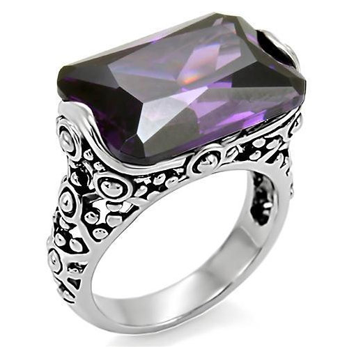 Bali Inspired 18x13 mm 12.86 Carat Rectangle Amethyst CZ Stainless Steel Sz 5-10