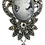 Thumbnail: Vintage Inspired Cameo Silver-Tone Black Diamond Austrian Crystals Brooch