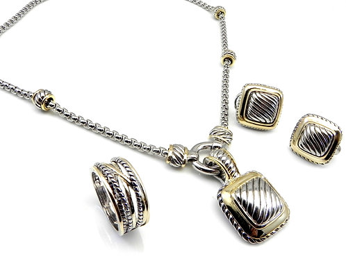 """Cable Designer Inspired 2-Tone 3 Piece Set- Earring-Pendant & 17""""Chain"""