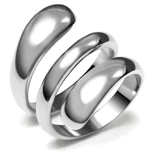 Wrap Around Bold Wide Band Statement High Polished Stainless Steel Women's Ring
