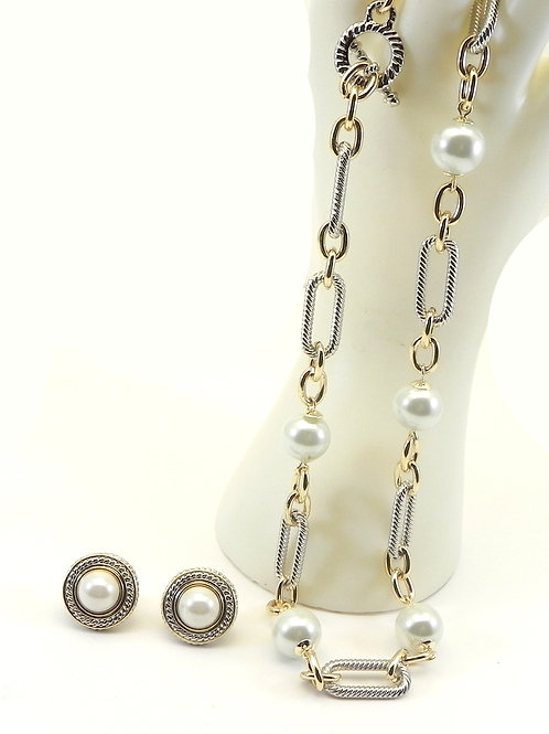 Classic Cable Designer Inspired 2-tone Link/Pearl Necklace-Earring Set