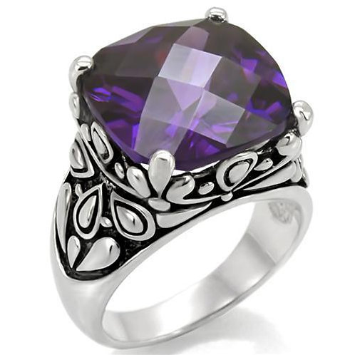 Bali Inspired 15x15 mm 19 Carat Square Amethyst CZ Stainless Steel Size 5-10