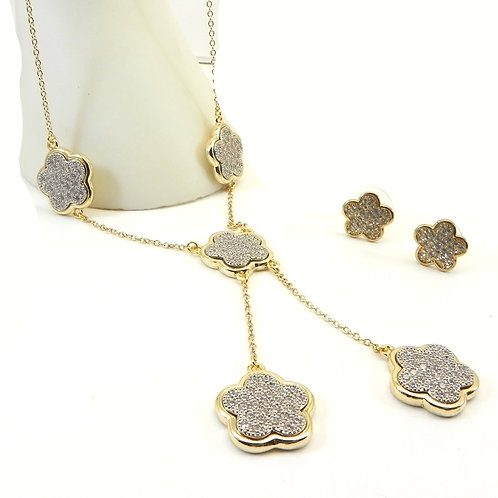 International Designer Inspired Gold-Tone Pave Stations Y Necklace-Earring Set