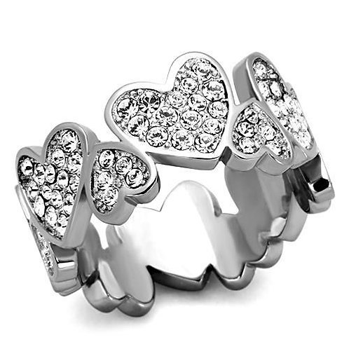 Stainless Steel  Heart Eternity Pave Austrian Crystals Stainless Steel Ring