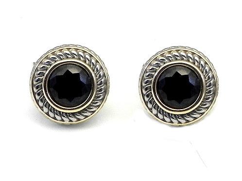 Cable Designer Inspired 2-Tone Black CZ Surgical Steel Post Leverback Earring