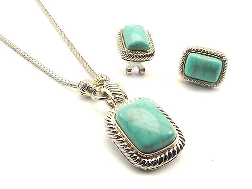 Cable Designer Inspired 2-Tone Simulated Turquoise Pendant, Necklace & Earring