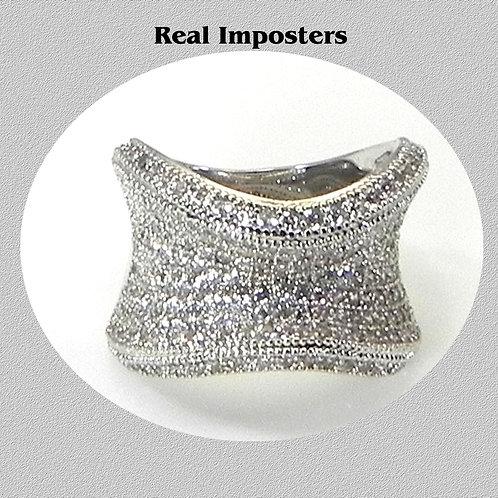 Amazing- Contemporary  Micro Pave Set CZ's Rhodium Overlay Ring Women Size 6-7