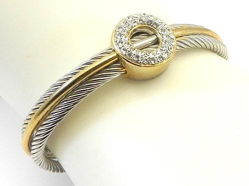 Classic Designer Inspired  2-Tone Cuff 7.5 MM Cable Bracelet
