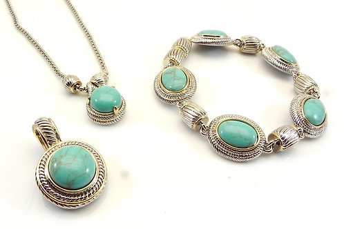 Cable Designer Inspired 2-Tone Turquoise Chain, Pendant and Bracelet Set