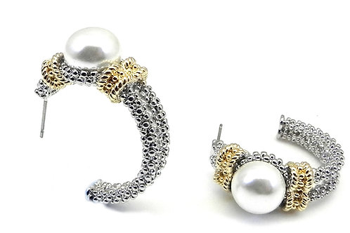 Designer Inspired 2-Tone Simulated Pearl Caviar Beaded Hoop Earring