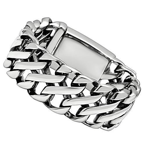 """Manly-Bold-Chunky Heavy Metal Stainless Steel 8"""" Link Bracelet"""