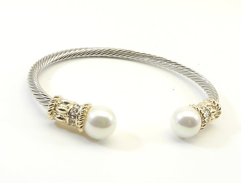 Designer Inspired 2-ToneTwisted Wire- Faux Pearl Tips Bracelet Cuff