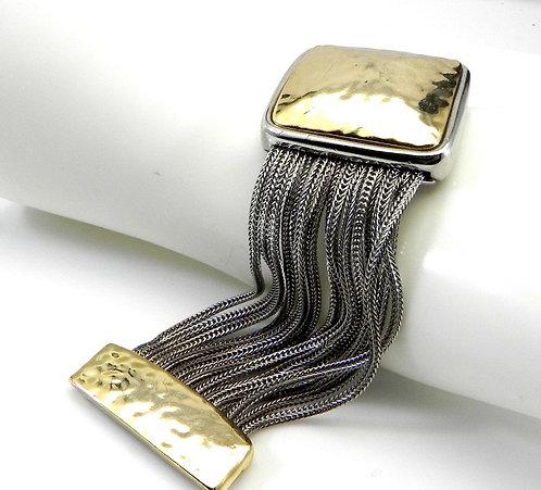 Bali Designer Inspired 2-Tone Multi-Strand Hammered Center Square Bracelet