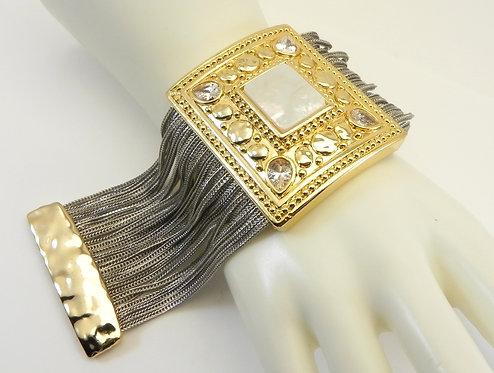 Stunner-Designer Inspired 2-Tone Multi-Strand MOP & Crystals Wide Bracelet
