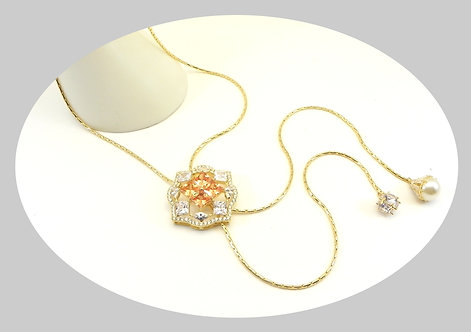 """Exquisite Lariat 38"""" Gold-Tone Encrusted with Princess Cut-Marquise & Pave CZ"""