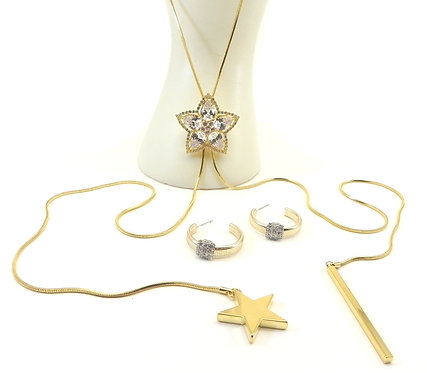 """Designer Inspired Gold-Tone 36"""" Lariat Pear CZ & Pave Crystals & Earring Set"""