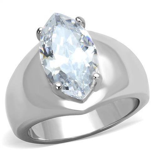 Statement 15x8 MM Marquise 3.44 Carats CZ Stainless Steel Engagement Ring 5-10