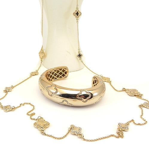 Designer Inspired Gold-Tone Simulated 4 Leaf Clover Crystal Necklace & Bracelet