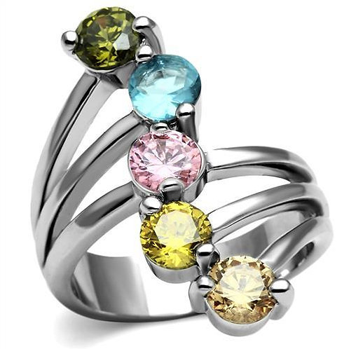 Vivacious 5 Multi-color Round Cut CZ's  Stainless Steel Engagement Ring Sz 5-10