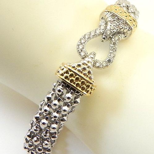 Classic Cable Designer Inspired 2-Tone Caviar CZ Bracelet