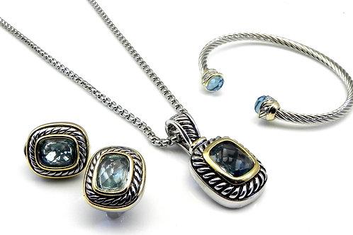 Cable Designer Inspired 2-Tone Light Blue CZ,Bracelet,Slider,Chain,Earrings 4 Pc