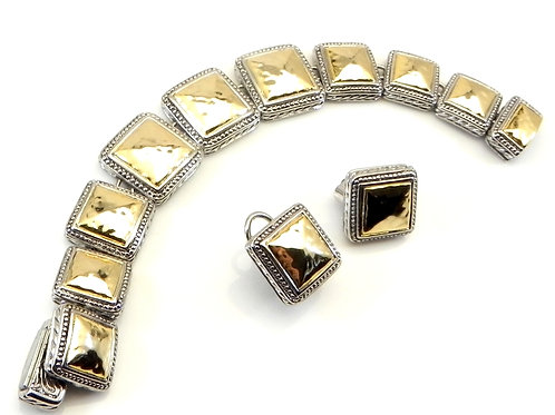 Bali Designer Inspired 2-Tone Hammered Square Sections Bracelet & Earring Set