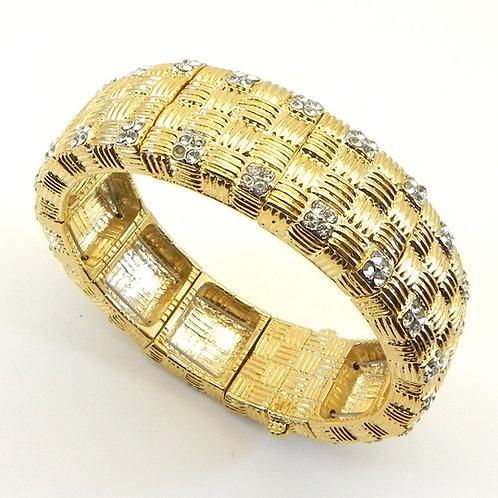 Chic & Bold Designer Inspired Gold-Tone Ribbed & Crystals Bracelet