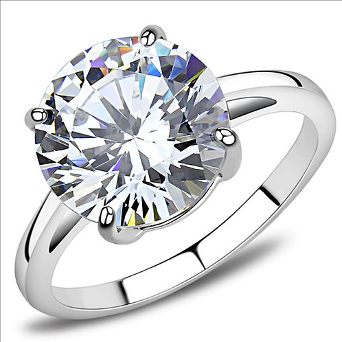 Dazzling 5 Carat Solitaire CZ Stainless Steel Engagement Ring Sz 6-10