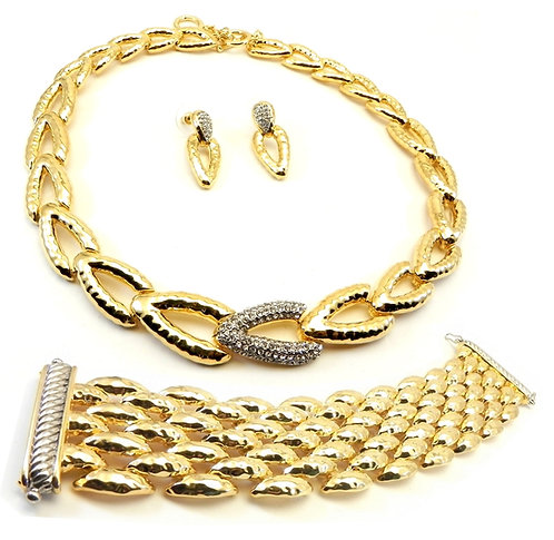 3 Piece French Designer Inspired  Gold-Tone Hammered Necklace-Bracelet-Earring
