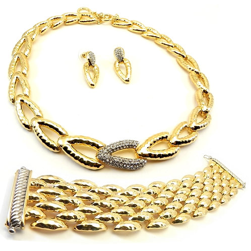 3 Piece French Designer Inspired  Gold-Tone Hammered Necklace-Bracelet-Earring