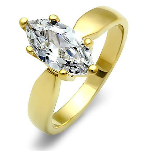 1.62ctw Marquise Solitaire Gold IP Stainless Steel Engagement Ring Size 5-10