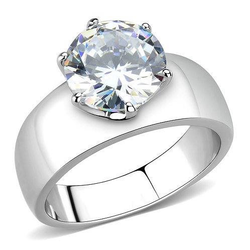 10 MM 3.87 CTW Round CZ Solitaire Wide Band Stainless Steel Ring Sz