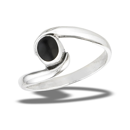 Sterling Silver Bypass Cradled Oval Simulated Black Onyx Ring Size 7