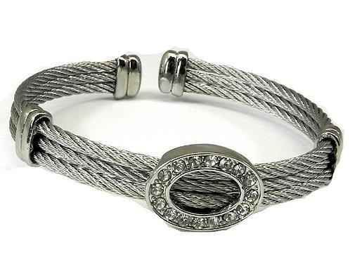Cable Designer inspired Rhodium & Pave Austrian Crystals Bracelet-Cuff