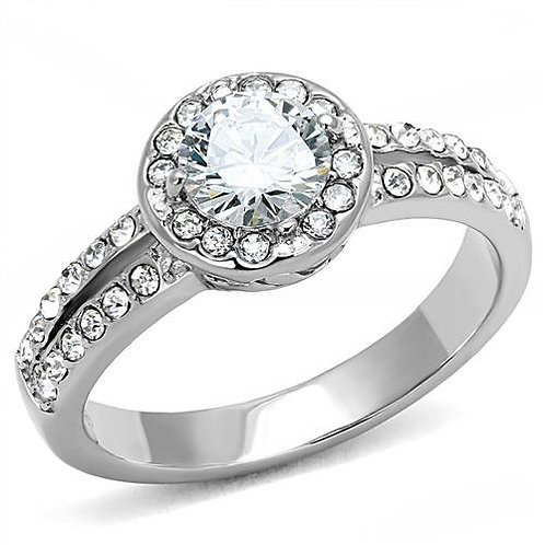 Stunning 1.43ctw Halo Round Cut w French set CZ Engagement Stainlless Size 5-10