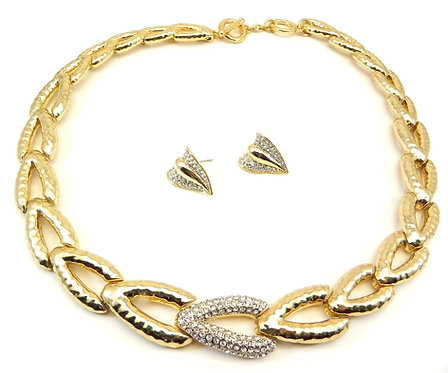 Designer Inspired Hammered Gold Tone Pave Crystal Necklace & Earring Set