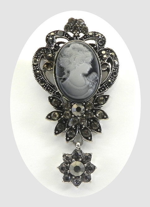 Vintage Inspired Cameo Silver-Tone Black Diamond Austrian Crystals Brooch