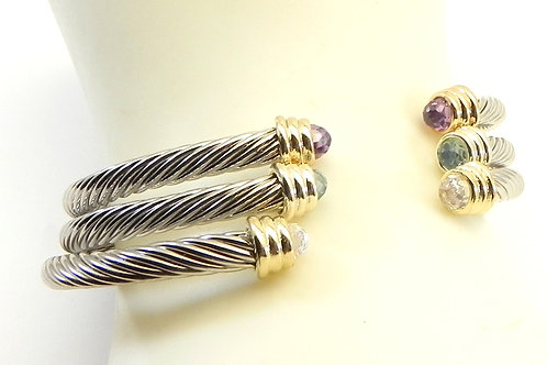 Dainty 3.7 mm Cable Designer Inspired 2-Tone CZ Tips 3-Colors Stacking Cuff