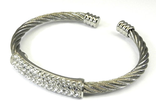 Cable Designer Inspired Rhodium & Pave Set Austrian Crystal Bracelet Cuff