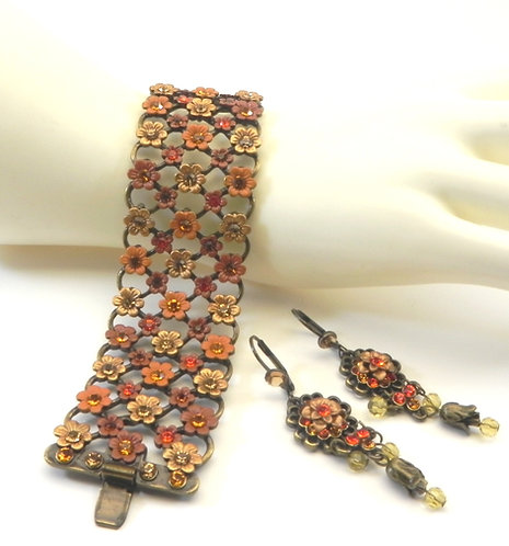 Victorian Vintage Inspired Whimsical Flowers Autumn-Tonal Bracelet-Earring Set