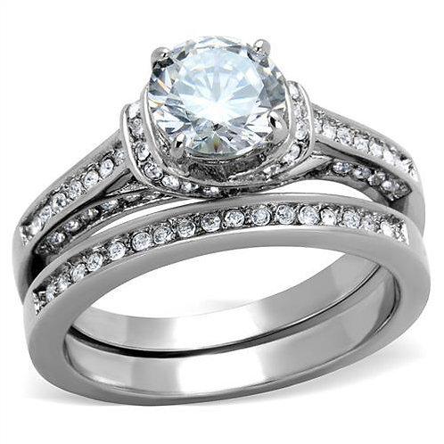 Bridal Set Round Cut & Pave Set CZ'S Stainless Steel Engagement Sz 5-10